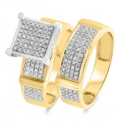 1/2 Carat T.W. Diamond Matching Bridal Ring Set 10K Yellow Gold