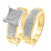 3/8 CT. T.W. Diamond Matching Bridal Ring Set 14K Yellow Gold