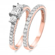 1 3/8 Carat T.W. Diamond Matching Bridal Ring Set 10K Rose Gold