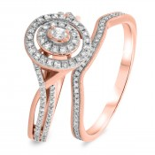 2/3 CT. T.W. Diamond Matching Bridal Ring Set 10K Rose Gold