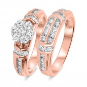 3/4 Carat T.W. Diamond Ladies' Bridal Wedding Ring Set 10K Rose Gold