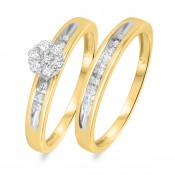 1/5 Carat T.W. Diamond Women's Bridal Wedding Ring Set 10K Yellow Gold