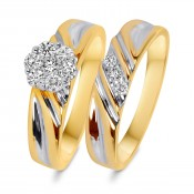 3/8 Carat T.W. Diamond Women's Bridal Wedding Ring Set 14K Yellow Gold