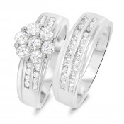 1 1/6 CT. T.W. Diamond Ladies' Bridal Wedding Ring Set 14K White Gold