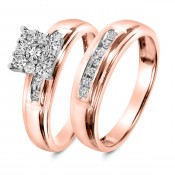 1/2 CT. T.W. Diamond Ladies' Bridal Wedding Ring Set 10K Rose Gold
