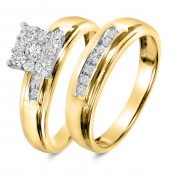 1/2 CT. T.W. Diamond Ladies' Bridal Wedding Ring Set 14K Yellow Gold