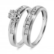 1/5 CT. T.W. Diamond Ladies' Bridal Wedding Ring Set 10K White Gold