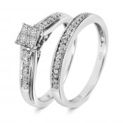 1/3 Carat T.W. Diamond Ladies' Bridal Wedding Ring Set 14K White Gold