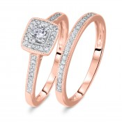 1/3 CT. T.W. Round Cut Diamond Ladies Bridal Wedding Ring Set 14K Rose Gold