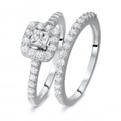 1 CT. T.W. Round, Princess Cut Diamond Ladies Bridal Ring Set 10K White Gold