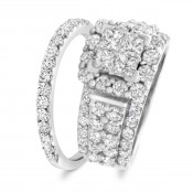 3 3/8 CT. T.W. Princess, Round Cut Diamond Ladies Bridal Wedding Ring Set 14K White Gold