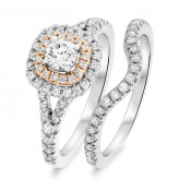 7/8 CT. T.W. Round Cut White and Rose Gold  Bridal Set 14K White Gold