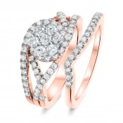 7/8 CT. T.W. Diamond Women's Bridal Wedding Ring Set 10K Rose Gold