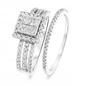 1 1/10 CT. T.W. Round, Princess Cut Diamond Ladies Bridal Wedding Ring Set 14K White Gold