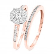1/2 CT. T.W. Round Cut Diamond Ladies Bridal Wedding Ring Set 14K Rose Gold