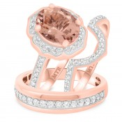 3 Carat T.W. Morganite and Diamond Trio Matching Wedding Ring Set 14K Rose Gold
