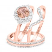 1 1/2 CT. T.W. Morganite and Diamond Trio Matching Wedding Ring Set 14K Rose Gold