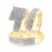 1/2 Carat T.W. Diamond Trio Matching Wedding Ring Set 10K Yellow Gold
