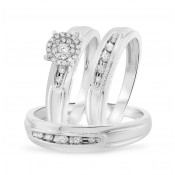 3/8 CT. T.W. Diamond Trio Matching Wedding Ring Set 14K White Gold