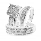 3/4 Carat T.W. Diamond Trio Matching Wedding Ring Set 10K White Gold