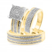 3/4 Carat T.W. Diamond Trio Matching Wedding Ring Set 14K Yellow Gold