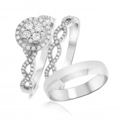 7/8 Carat T.W. Diamond Matching Trio Ring Set 14K White Gold