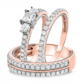 1 3/4 CT. T.W. Diamond Trio Matching Wedding Ring Set 14K Rose Gold