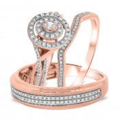 1 CT. T.W. Diamond Trio Matching Wedding Ring Set 10K Rose Gold