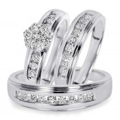 3/4 CT. T.W. Diamond Trio Matching Wedding Ring Set 10K White Gold