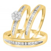 1/4 CT. T.W. Diamond Trio Matching Wedding Ring Set 10K Yellow Gold