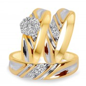 3/8 Carat T.W. Diamond Trio Matching Wedding Ring Set 10K Yellow Gold