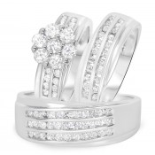 1 5/8 Carat T.W. Diamond Trio Matching Wedding Ring Set 14K White Gold
