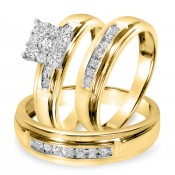 1/2 CT. T.W. Diamond Trio Matching Wedding Ring Set 14K Yellow Gold