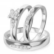 3/8 CT. T.W. Diamond Trio Matching Wedding Ring Set 10K White Gold
