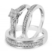 1/2 Carat T.W. Diamond Trio Matching Wedding Ring Set 14K White Gold