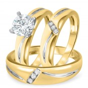 1 1/10 CT. T.W. Diamond Ladies Engagement Ring, Wedding Band, Men's Wedding Band Matching Set 10K Yellow Gold