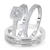 1/2 Carat T.W. Round Cut Diamond Matching Trio Wedding Ring Set 14K White Gold