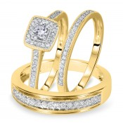 1/2 Carat T.W. Round Cut Diamond Matching Trio Wedding Ring Set 10K Yellow Gold