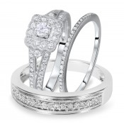 3/4 Carat T.W. Round Cut Diamond Matching Trio Wedding Ring Set 14K White Gold