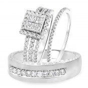 1 1/3 Carat T.W. Round, Princess Cut Diamond Trio Wedding Set 14K White Gold