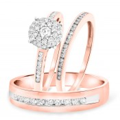 3/4 Carat T.W. Round Cut Diamond Trio Wedding Set 14K Rose Gold