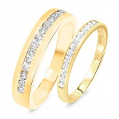 2/3 CT. T.W. Diamond Matching Wedding Band Set 14K Yellow Gold