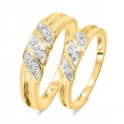 1/7 Carat T.W. Diamond Ladies' and Men's Wedding Rings 14K Yellow Gold