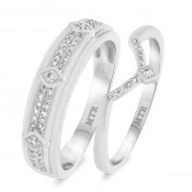 1/4 CT. T.W. Diamond Matching Wedding Band Set 14K White Gold