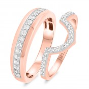 2/3 Carat T.W. Diamond Matching Wedding Band Set 14K Rose Gold