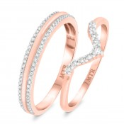 1/2 Carat T.W. Diamond Matching Wedding Band Set 14K Rose Gold