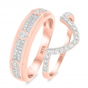 1/2 CT. T.W. Diamond Matching Wedding Band Set 14K Rose Gold