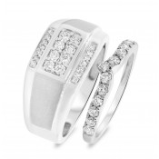 1 CT. T.W. Diamond Matching Wedding Band Set 14K White Gold