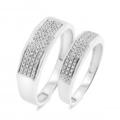 1/4 CT. T.W. Diamond Matching Wedding Band Set 10K White Gold