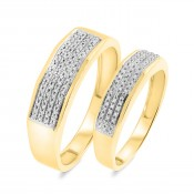 1/4 CT. T.W. Diamond Matching Wedding Band Set 10K Yellow Gold